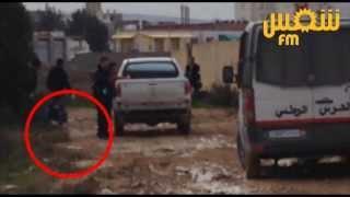ظهور جثة في أول الفيديوهات من أمام المنزل الذي يتحصن فيه الإرهابيين