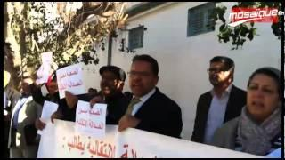 أمام التأسيسي: أعضاءالتنسيقية الوطنية المستقلة للعدالة الانتقالية يحتجون