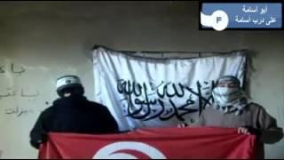 سلفيان يحرقان علم تونس بسوسة و يتوعدان الشعب التونسي !!!!!!!
